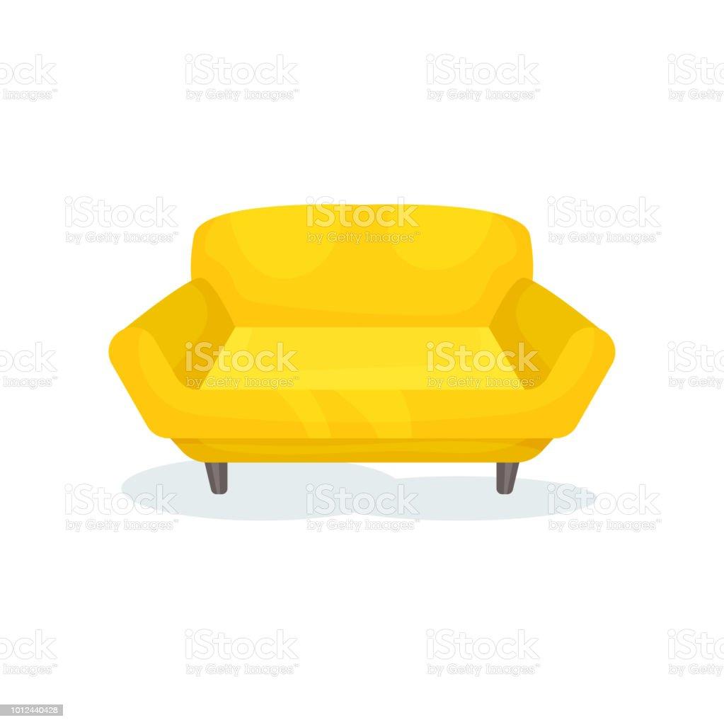 Gelbe Gemütliches Sofa, Wohnzimmermöbel, Interior Design Element Vektor  Illustration Auf Weißem Hintergrund Lizenzfreies Gelbe