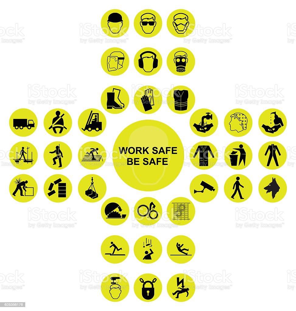 Yellow cruciform health and safety icon collection - ilustración de arte vectorial