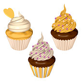 Yellow Cupcakes Set Isolated on White Background. Cakes with Lemon and Creamy Frostings in Yellow and White. Vector Realistic Illustration.