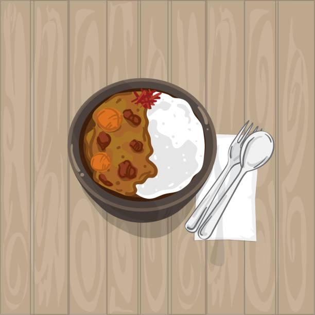 イエロー カレー和食グラフィック オブジェクトのトップ ビュー - カレー点のイラスト素材/クリップアート素材/マンガ素材/アイコン素材