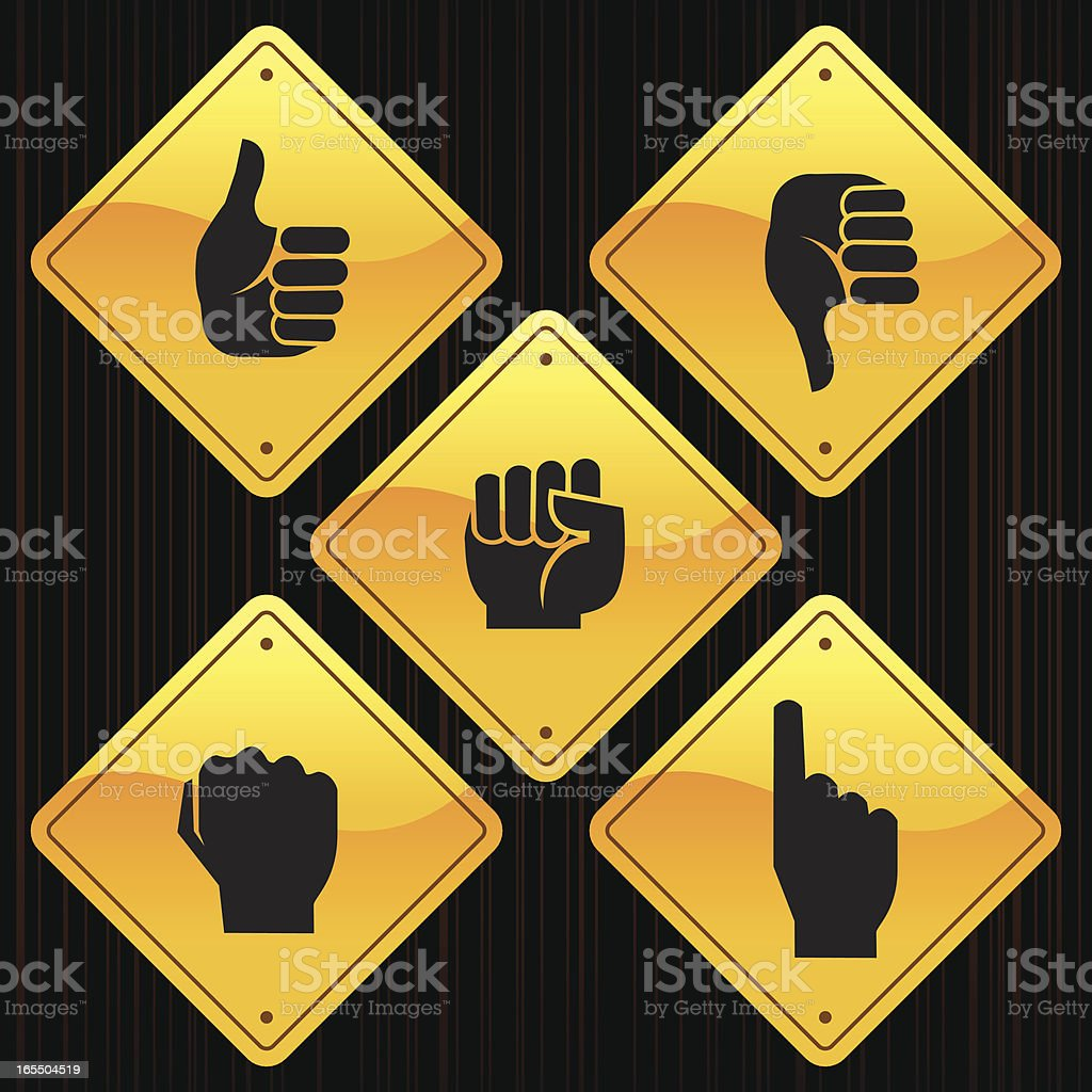 Yellow diamond shaped signs with various hand symbols stock vector yellow diamond shaped signs with various hand symbols royalty free stock vector art biocorpaavc