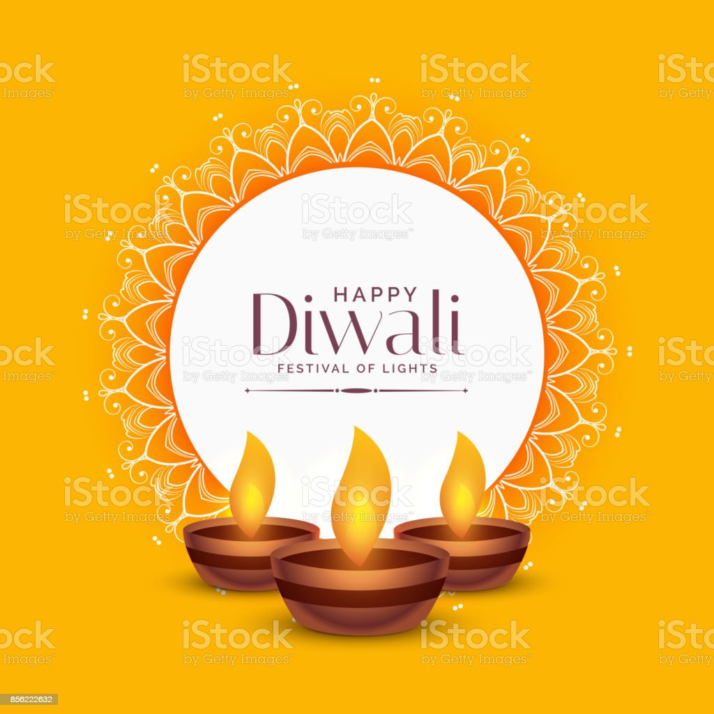 yellow diwali festival greeting design with three diya lamps vector art illustration