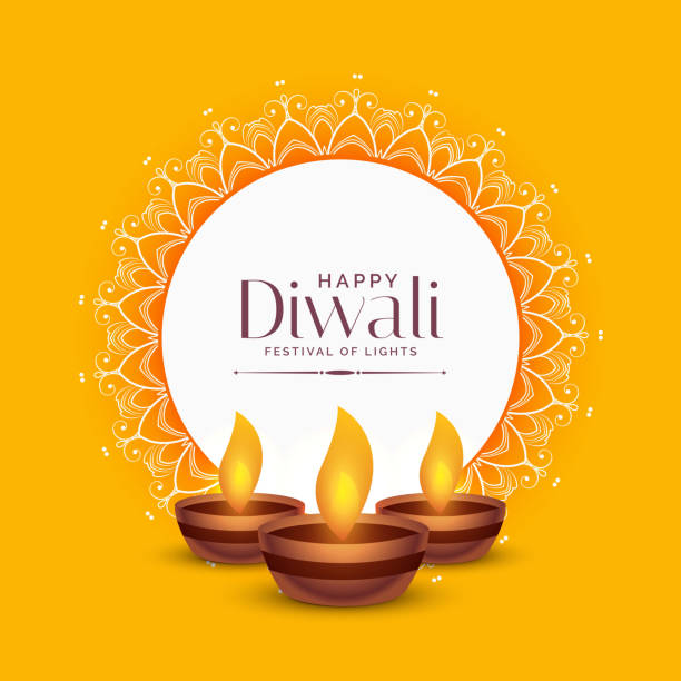 yellow diwali festival greeting design with three diya lamps - diwali stock illustrations, clip art, cartoons, & icons