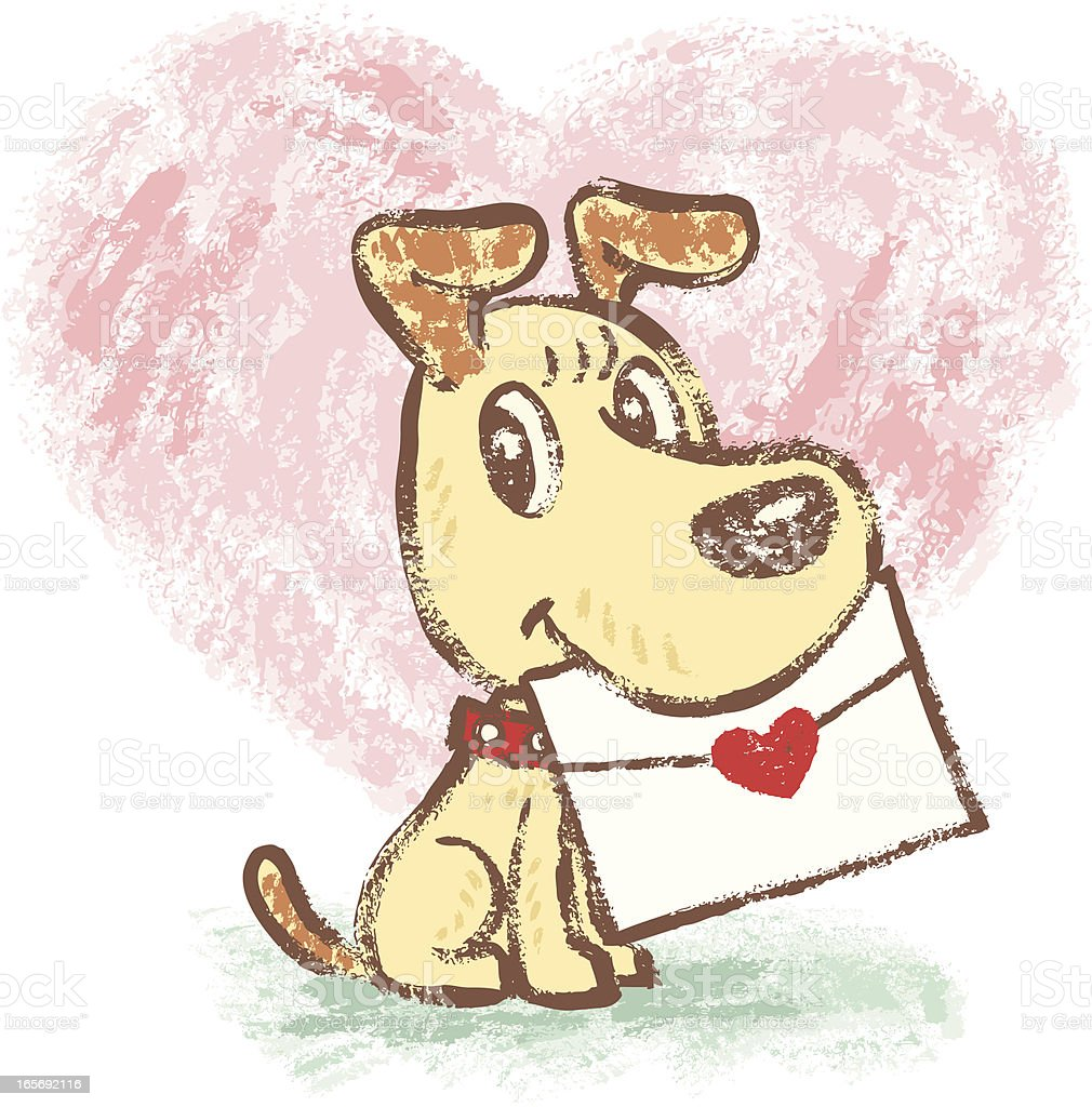 Yellow dog and love letter vector art illustration