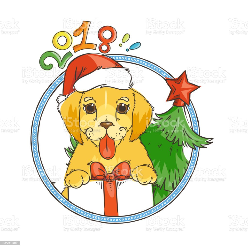 yellow dog for new year 2018 cute symbol of horoscope cute puppy in cartoon