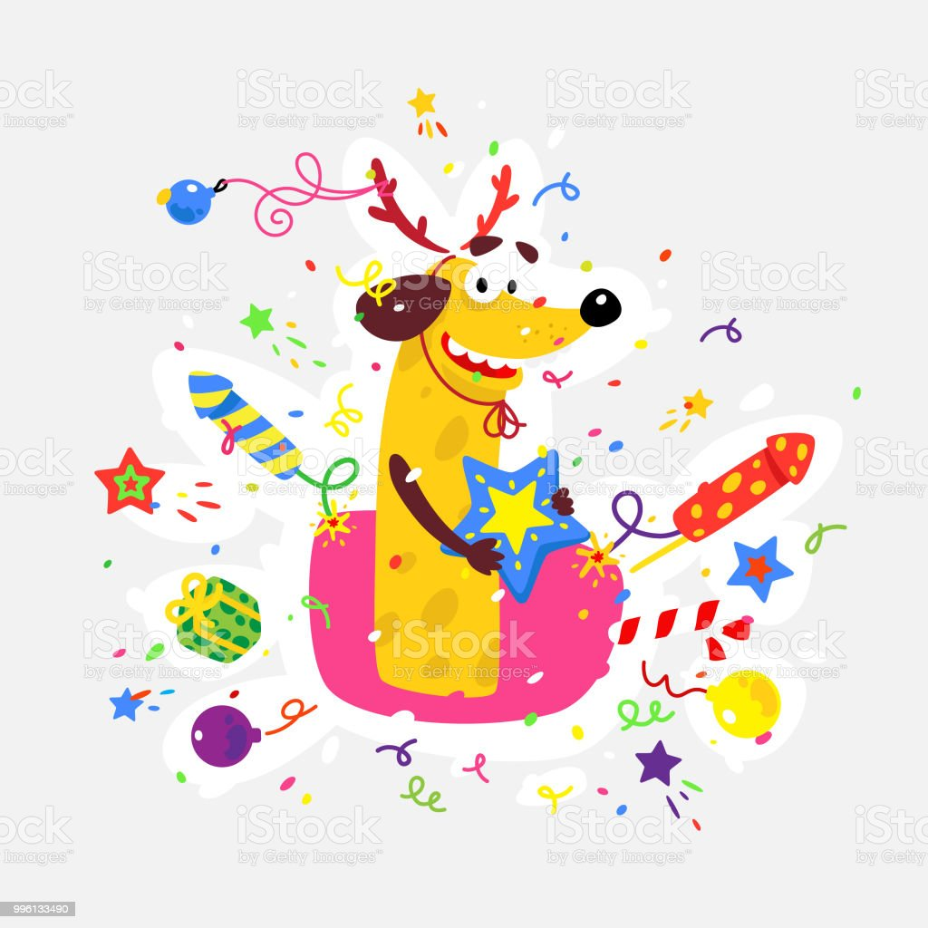 Yellow Dog Is The Symbol Of Chinese New Year Vector Flat
