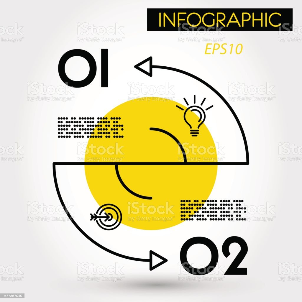 yellow double arc infographic cocnept vector art illustration