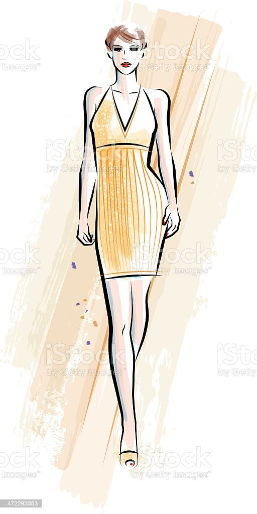 Yellow Dress vector art illustration