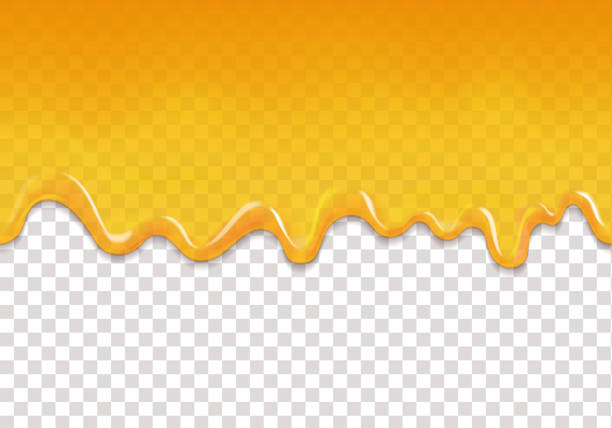 illustrazioni stock, clip art, cartoni animati e icone di tendenza di yellow drips seamless background. lemon orange jelly or honey drops horizontal vector - miele dolci