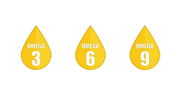 bildbanksillustrationer, clip art samt tecknat material och ikoner med gul droppe som ikoner omega 3 6 9 på vit bakgrund i platt stil. vektor - omega 3