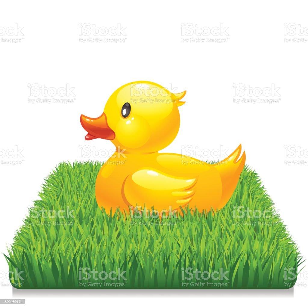 Yellow duck on fresh green grass 10eps vector art illustration