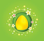 Yellow Easter egg with spring element greeting card
