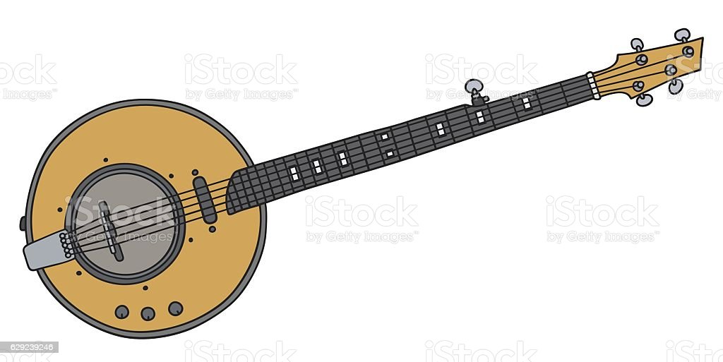 Yellow electric banjo vector art illustration