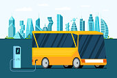 Yellow electric bus at refuelling power charging station on future city. Modern hybrid futuristic vehicle technology and eco public transport environment care concept. Electricity vector illustration