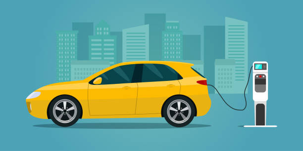 Yellow electric hatchback isolated. Electric car is charging, side view. Vector flat style illustration. vector art illustration