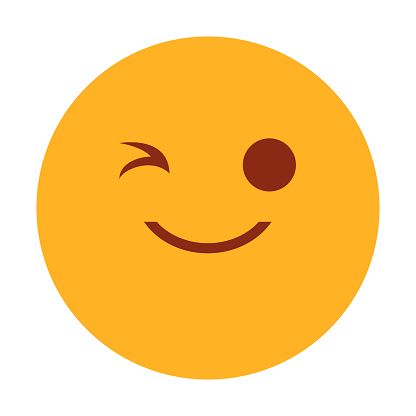 Yellow emoji winking vector isolated