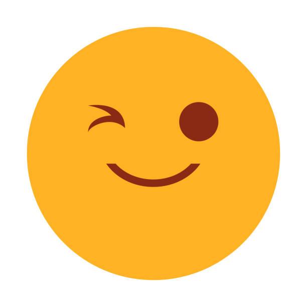 illustrazioni stock, clip art, cartoni animati e icone di tendenza di yellow emoji winking vector isolated - fare l'occhiolino