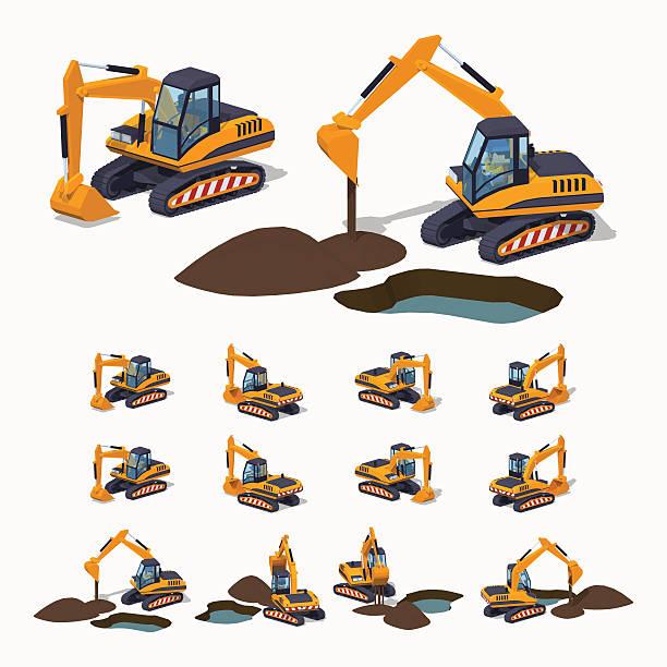 stockillustraties, clipart, cartoons en iconen met yellow excavator. special machinery - shovel