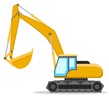 Yellow excavator with a bucket on a white. Construction machinery