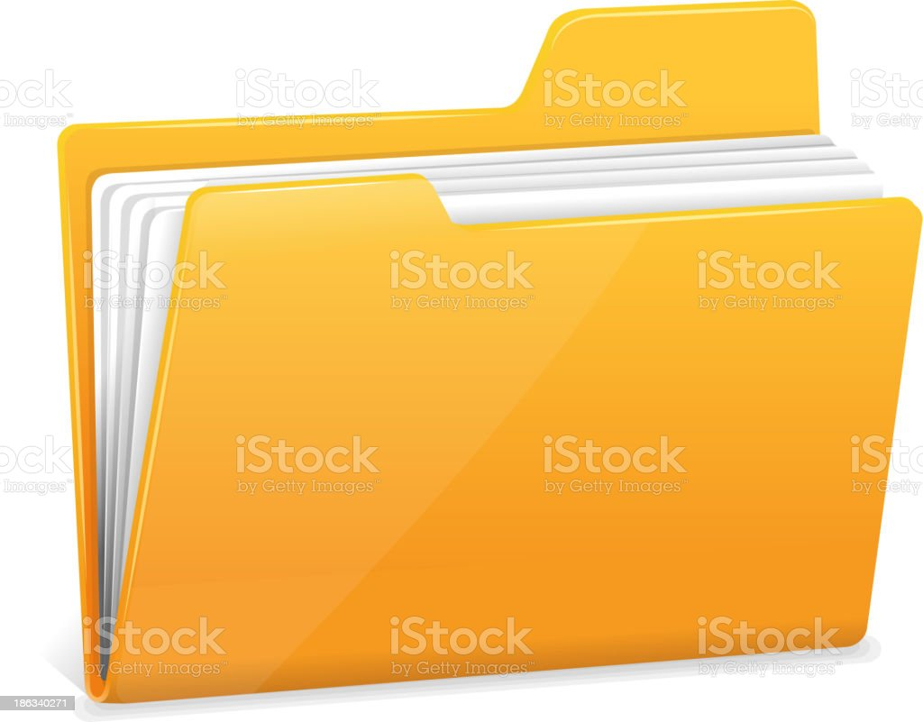 Yellow file folder with documents vector art illustration