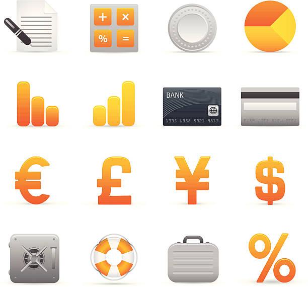 Gelbe Finanzen Symbole – Vektorgrafik