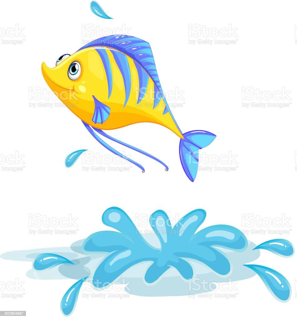 Yellow fish vector art illustration