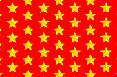 Yellow five-pointed star on red background - vector pattern