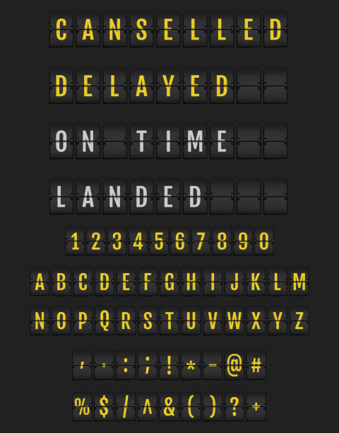 Yellow Flip Font on Dark Background Airport Mechanical Flip Board Panel Font - Yellow Font on Dark Background Vector Illustration flapping wings stock illustrations