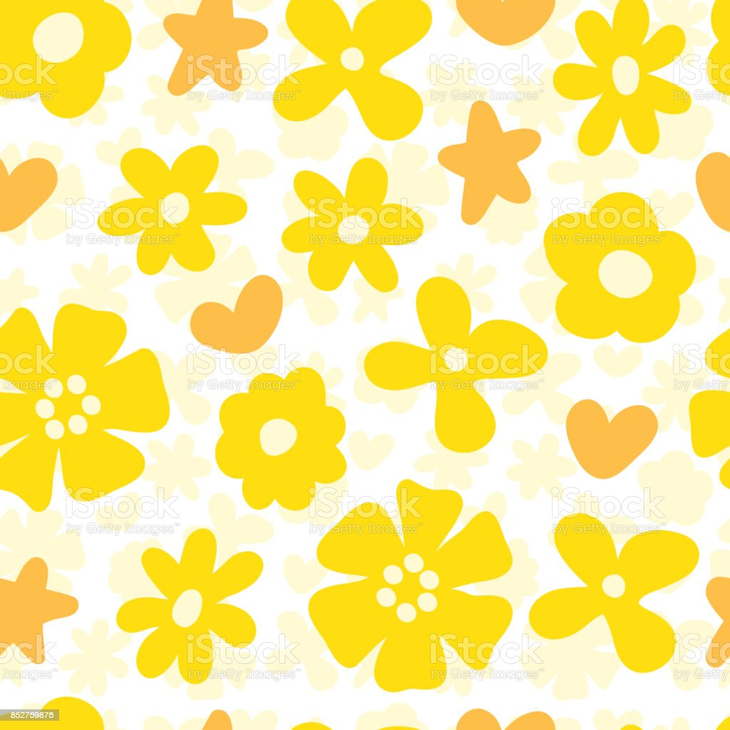 Yellow Floral Background Flowers Seamless Pattern Stock