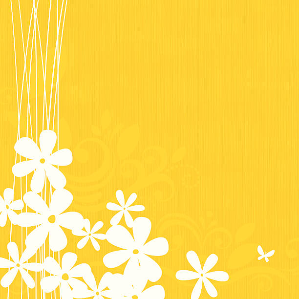 Yellow floral background vector art illustration