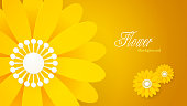 Yellow Floral Background with paper-cut style