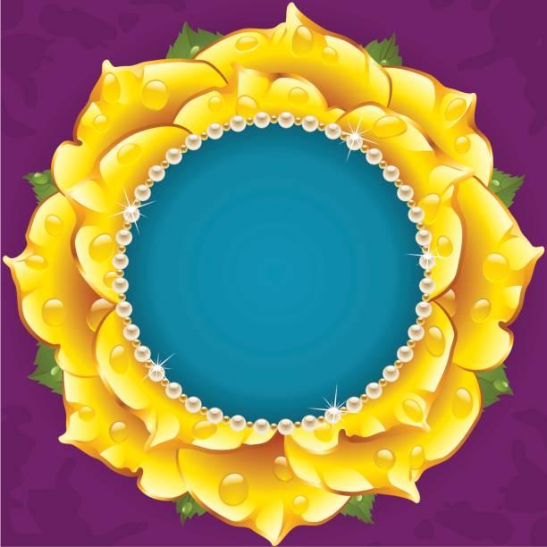 gelbe floral kreis rahmen - perlenstrauß stock-grafiken, -clipart, -cartoons und -symbole