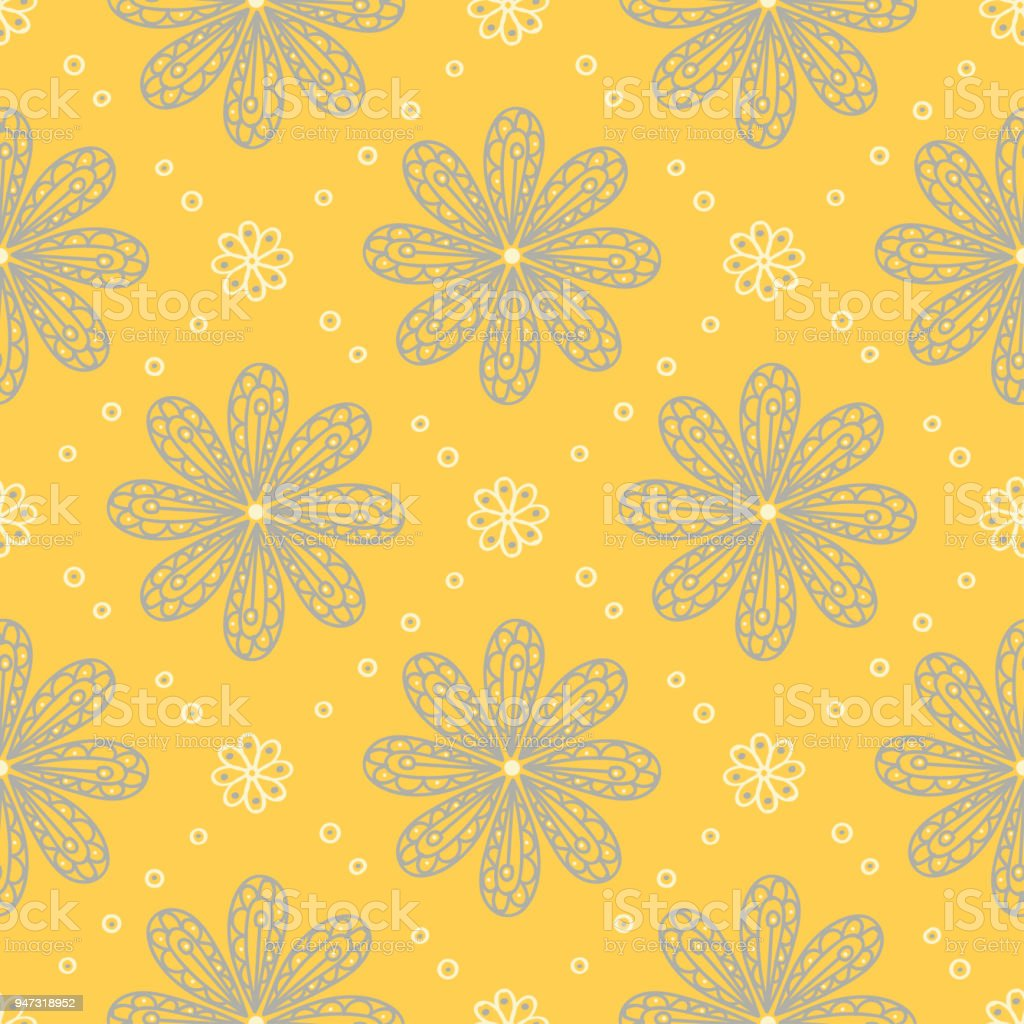 Yellow Floral Seamless Pattern Background With Flower Design Royalty Free