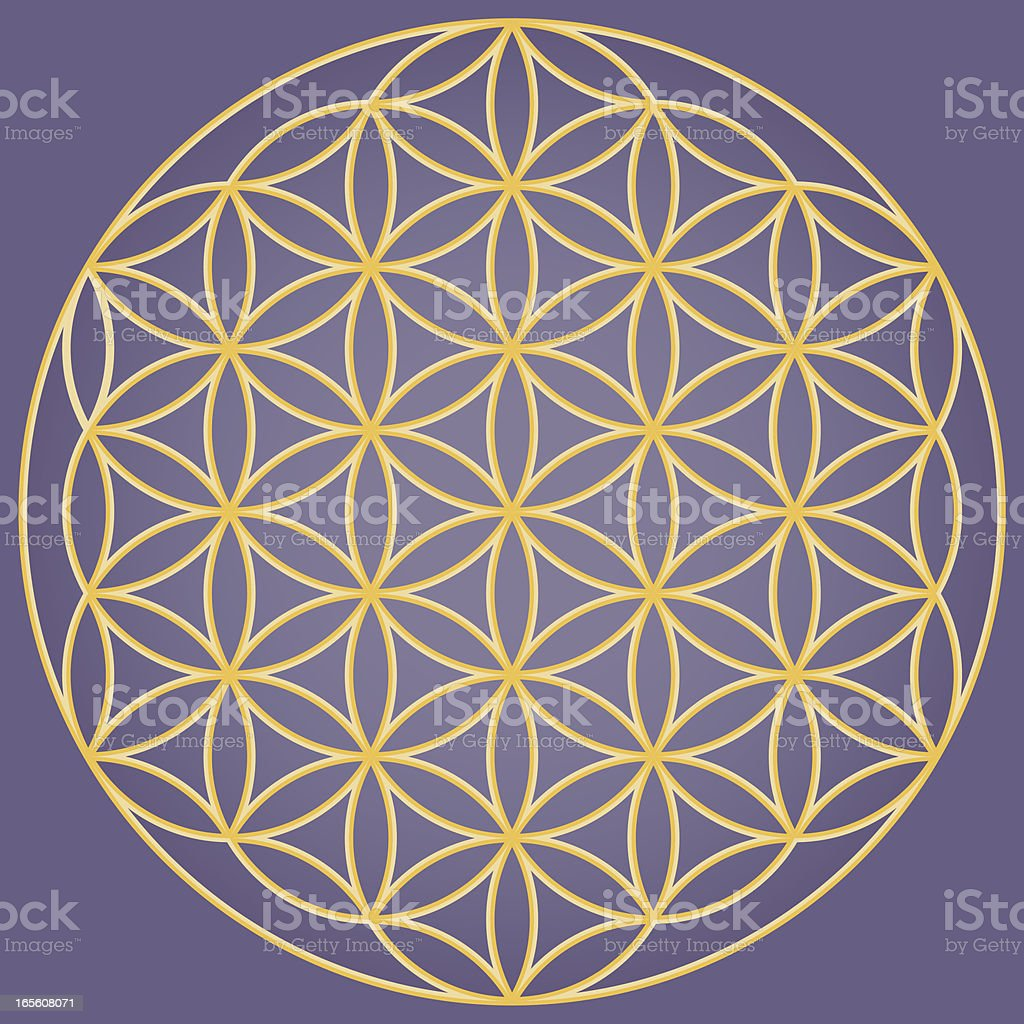 Yellow flower of life symbol on purple background vector art illustration
