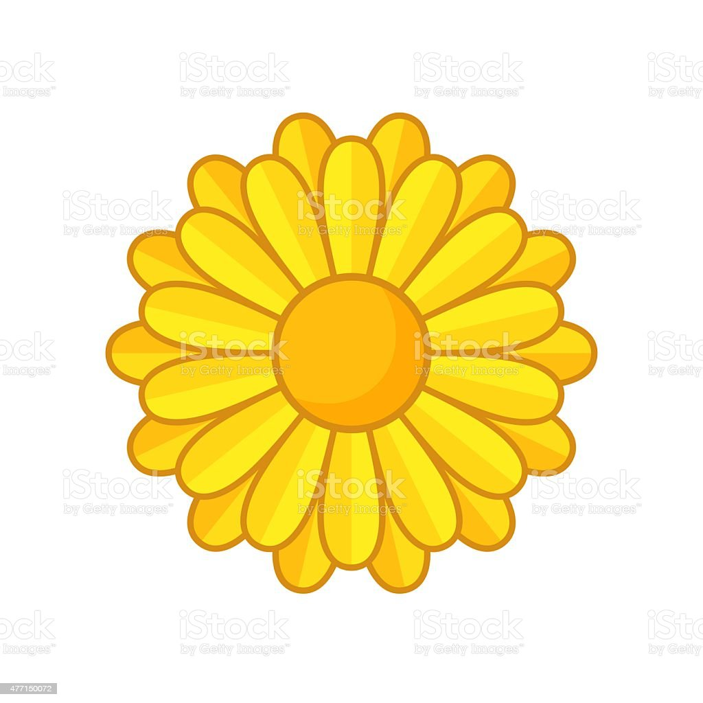 Simple illustration of yellow flower with contour. Separate bloom.