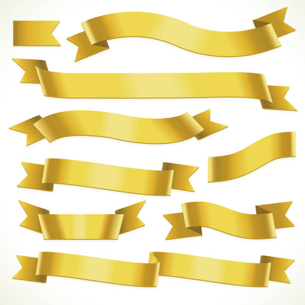 yellow fold over ribbons - ribbon sewing item stock illustrations