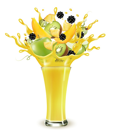 Yellow fruit juice splash. Whole and sliced apple, mango, kiwi and blackberry  in a sweet yellow juice or cocktail with splashes and drops isolated on transparent background. 3D. Vector.