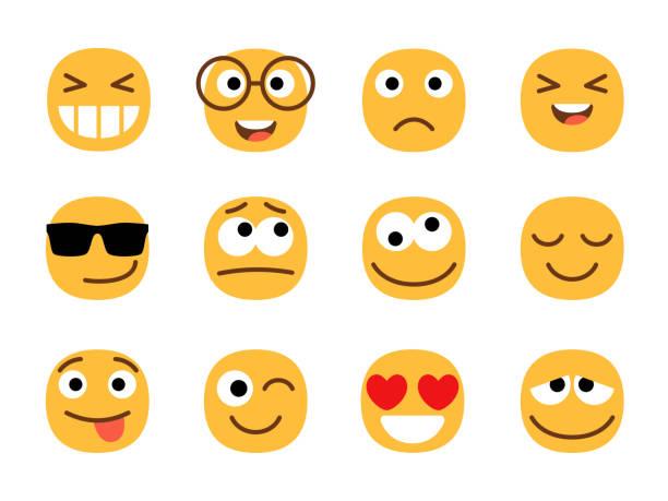 Yellow fun emoticons faces vector art illustration