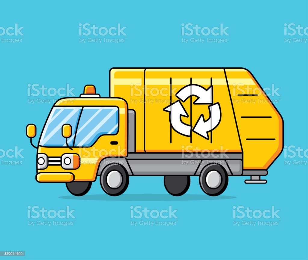 Yellow garbage recycling truck vector. vector art illustration