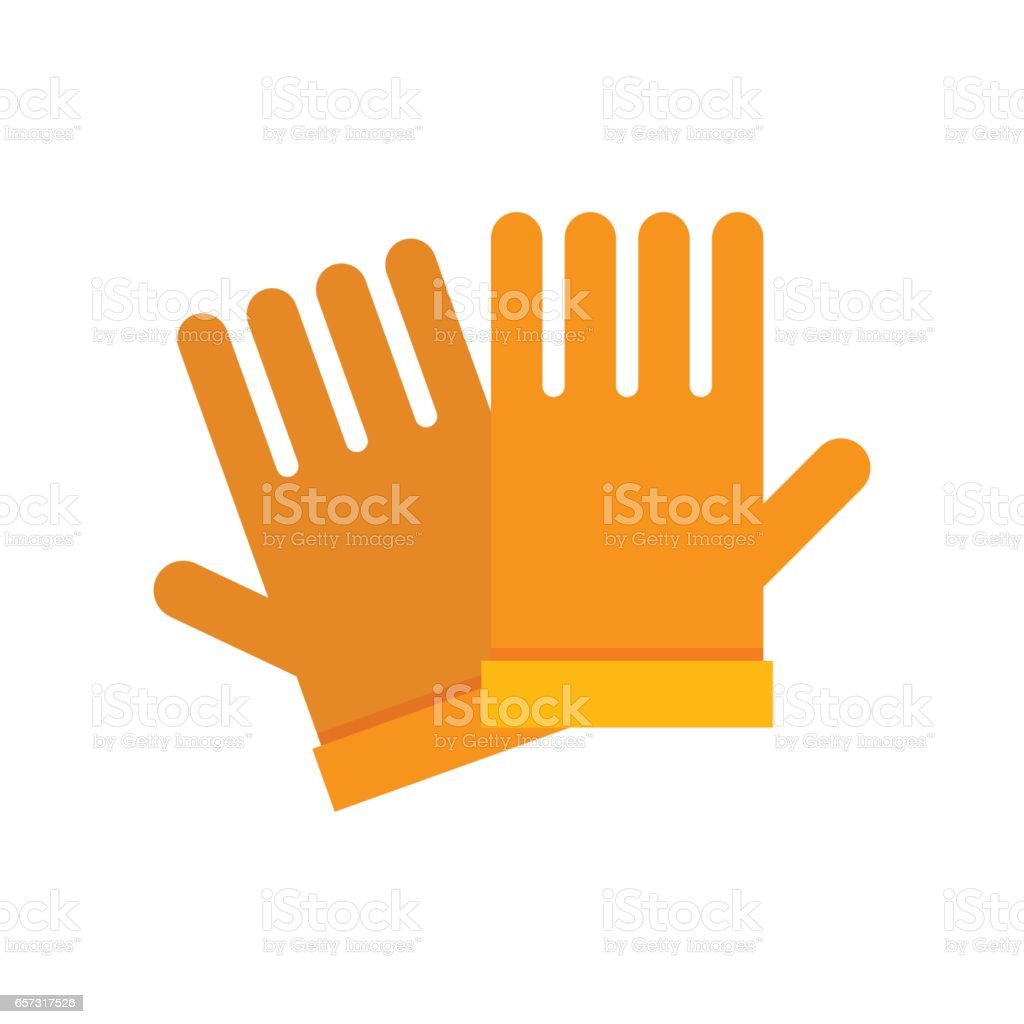 Yellow Garden Gloves vector art illustration