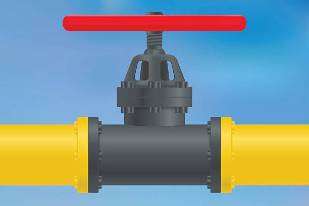 yellow gas pipe with  flange and valve - flange stock illustrations, clip art, cartoons, & icons