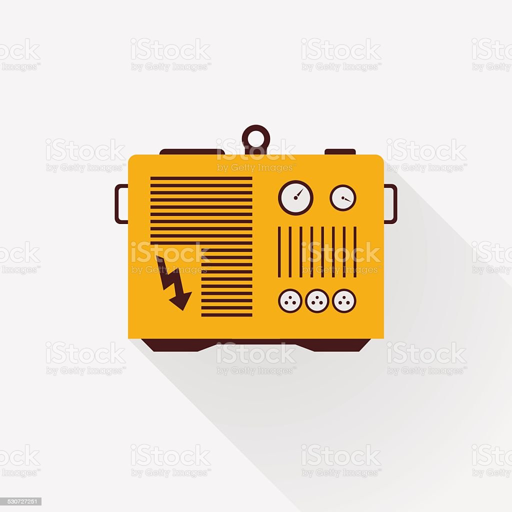 yellow generator with long shadows vector art illustration