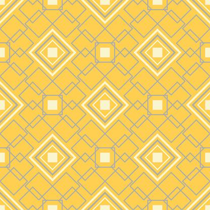 Gele Geometrische Achtergrond Heldere Naadloze Patroon Stockvectorkunst en meer beelden van Abstract