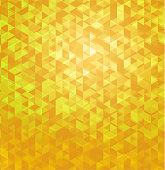 Yellow geometric polygonal abstract background. Destruction surface particle illustration.