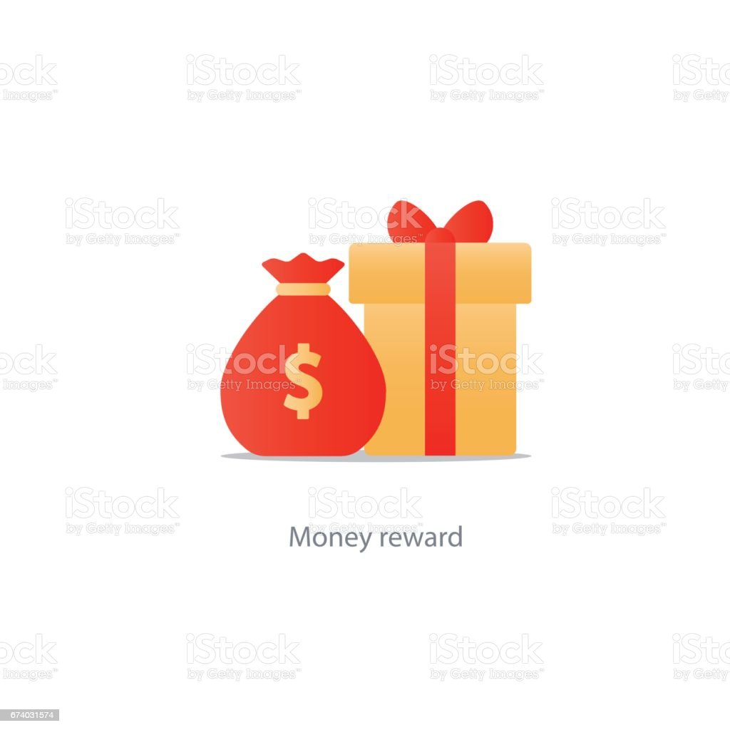 Yellow gift box and money bag, reward concept, bonus points royalty-free yellow gift box and money bag reward concept bonus points stock vector art & more images of award