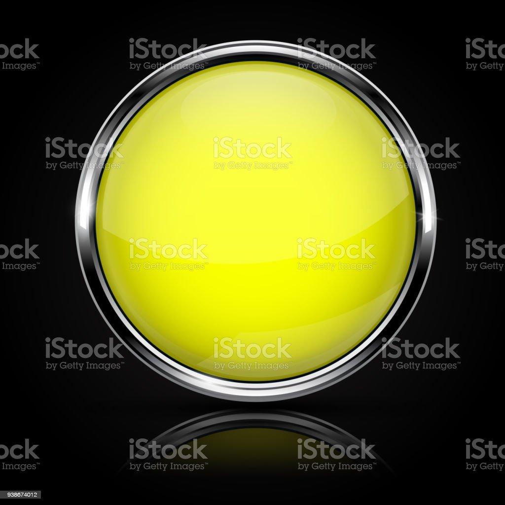 Ilustración de Botón Amarillo De Cristal Con Marco De Cromo Sobre ...