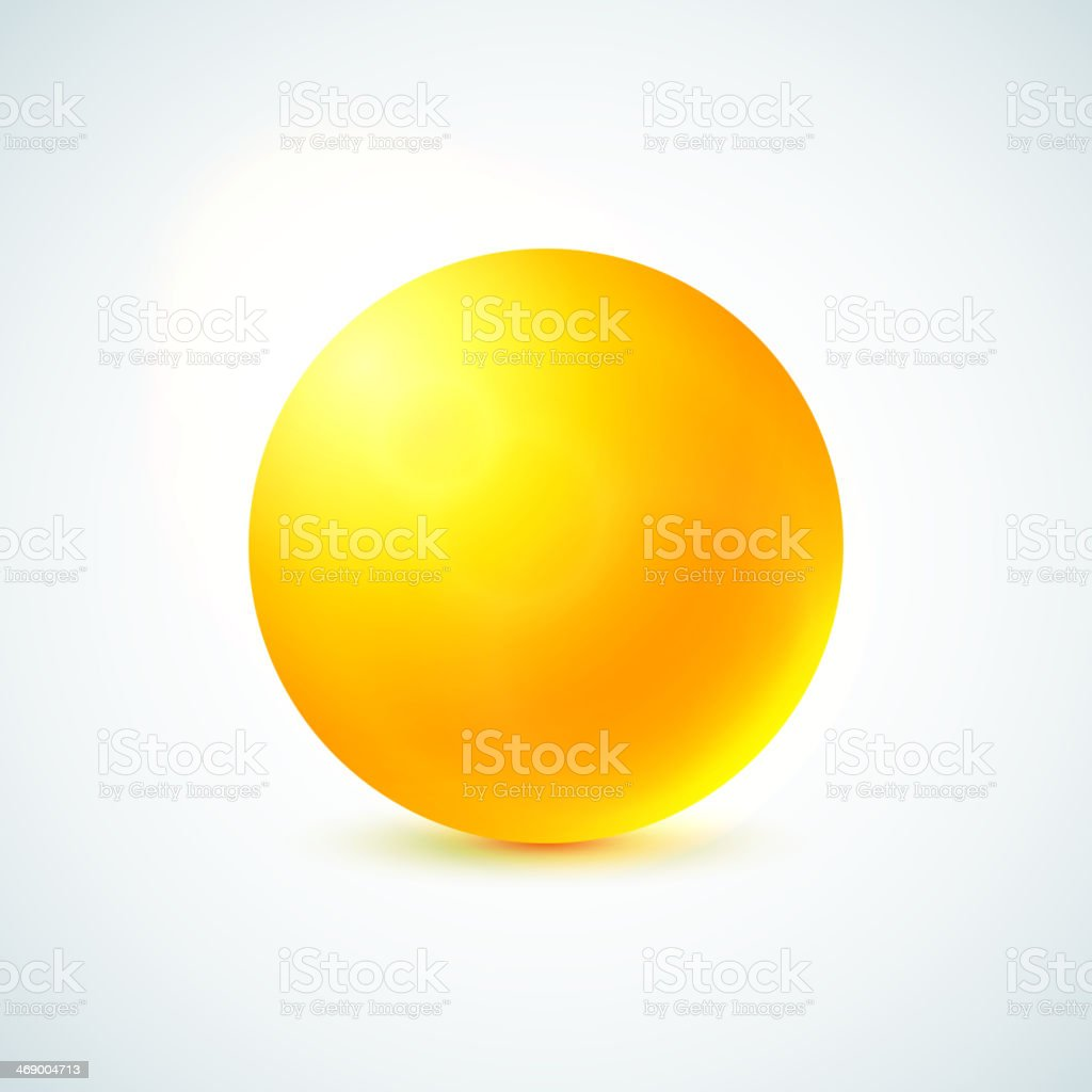 Yellow glossy sphere isolated on white vector art illustration