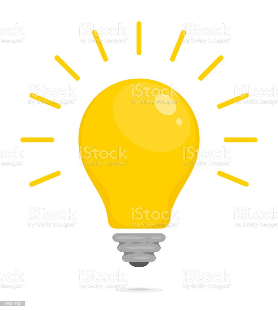 Yellow Glowing Light Bulb Symbol Of Energy Solution Thinking And