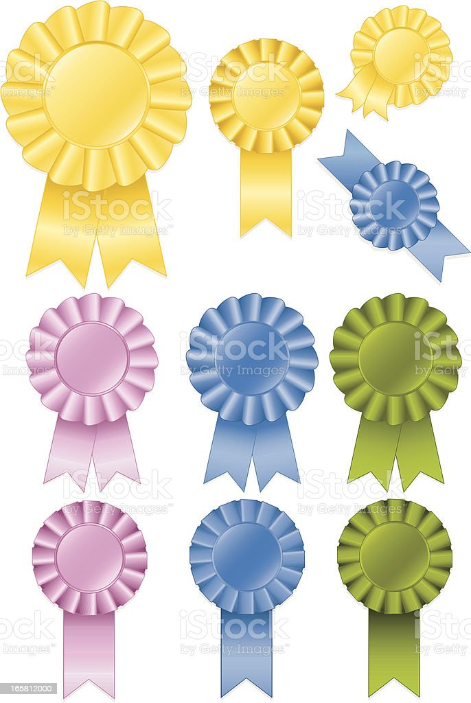 Yellow Gold, Pink, Blue, Green Award Rosettes and Ribbons Set royalty-free stock vector art