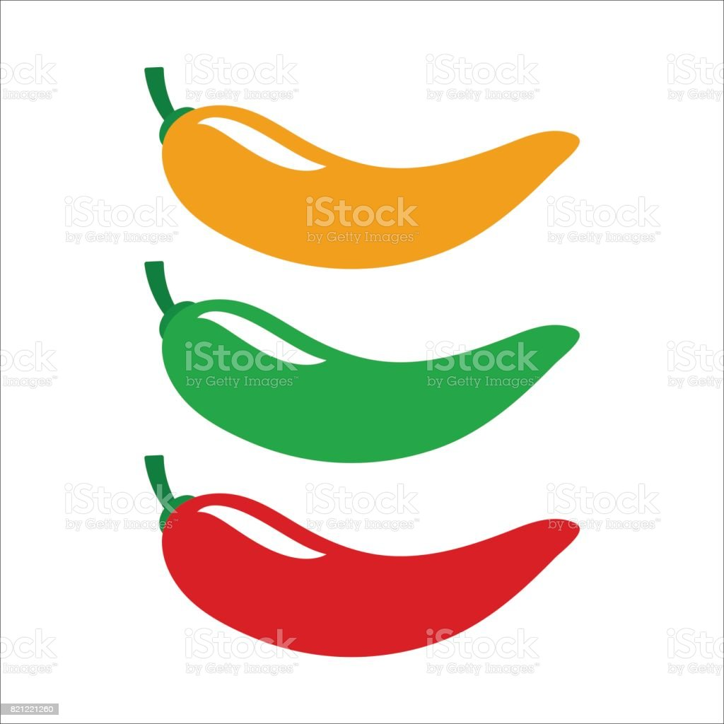 Yellow, green and red chili pepper. Set of vector icons vector art illustration